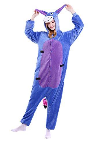 FashionOutlets Adult Unisex Hooded Flannel Animal Onesie Pajamas Zipper Sleepsuit Cosplay Costume Sleepwear, L