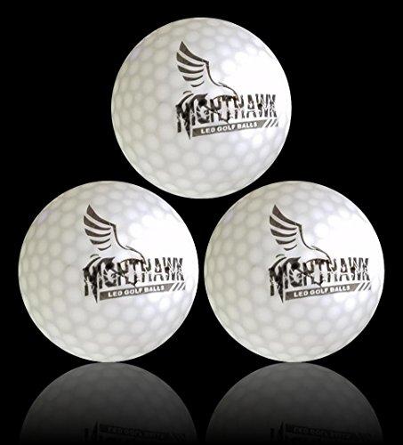NightHawk [Upgraded Version] 3 White Glow in Dark LED Light Up Golf Balls | 150 Minute per Activation | Super Bright Night Golf Fun -