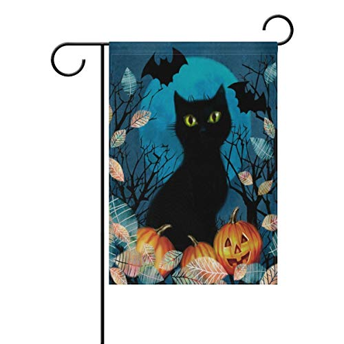 Andrea Back Spooky Background Withblack Cat Bat Flying The Night Over Dark Forest Double Sided Polyester Garden Flag Banner Halloween Decorative Yard Flag for Party Home Outdoor Decor 12x18 inch