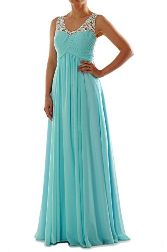 Dress Formal Gown Chiffon V Women Neck Prom Straps Long Silber MACloth EveningBall Lace wz8AqAZ