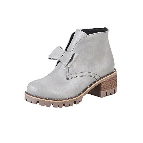 YE Damen Ankle Boots Blockabsatz High Heels Plateau Stiefeletten mit Schleife Elegant Modern Schuhe Grau