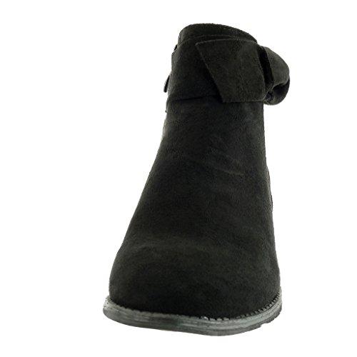 Angkorly - Zapatillas Moda Botines elegante cavalier mujer nodo Hebilla Tacón ancho alto 5 CM Negro