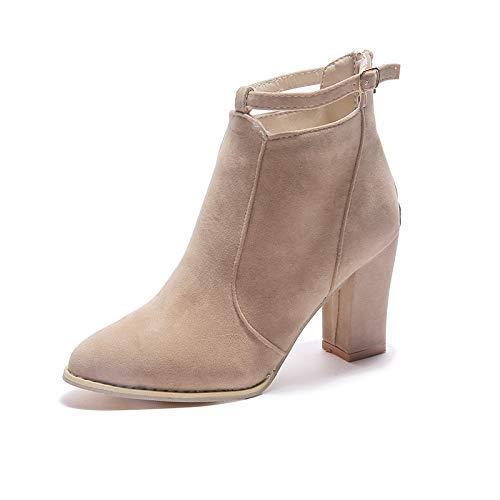Qiusa High Heels Große Damenstiefel Martin Stiefel dick mit hohem hohem hohem Absatz (Farbe   37 Größe   Creamy-Weiß) 314948