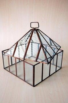 Quadratisch Kupfer Und Glas Mini Gewachshaus Glosche Amazon De Garten