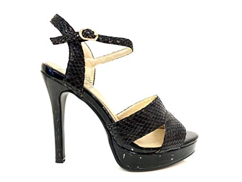 Blue Elegant Heel Alto Mujer Particular Detalle Leather Cristales Negro Shoes Elegantes Sandalias Ceremonia Tacón Snake Woman Plateau Crystals Zapatos Sandal High Con Vegan Tq6Hn
