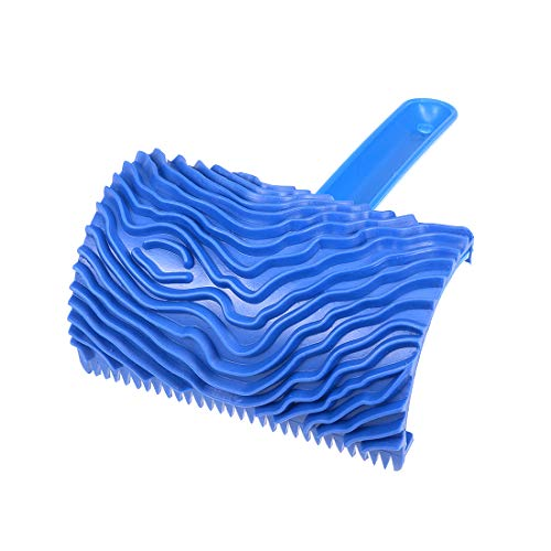 uxcell Wood Grain Tool with Handle 4″ Empaistic Rubber Graining Pattern Stamp for Painting Decoration Blue