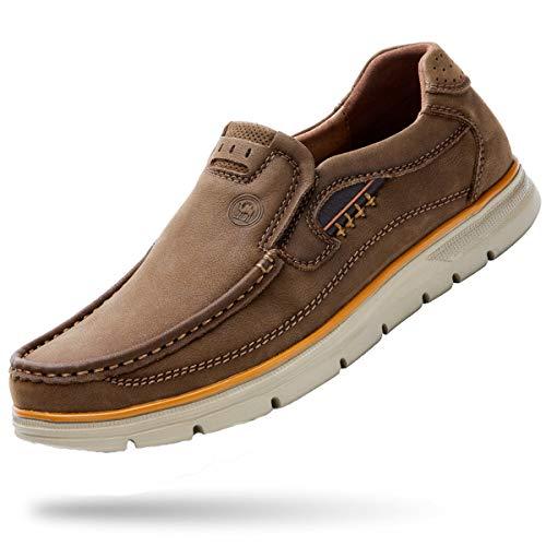 (CAMEL CROWN Loafer Slip-on Shoes Slip Resistant Genuine Leather Fashion Dress Shoes Brown)