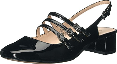 West Black Leather Slingback Pumps (Nine West Women's Weirley Synthetic Dress Pump, Black, 8.5 M US)