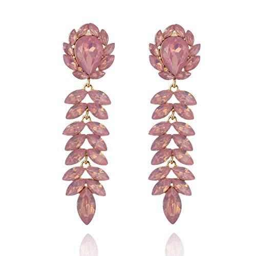 Floral Leaf Drop Crystal Dangle Women's Statement Earrings in ()
