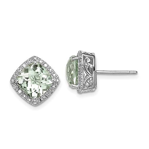 925 Sterling Silver Green Quartz Diamond Post Stud Earrings Ball Button Fine Jewelry Gifts For Women For Her (Green Diamond Stud Earrings)