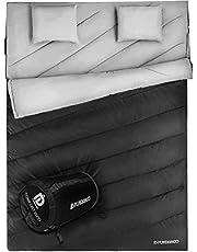 FUNDANGO Sac de Couchage Double pour 2 Personnes Adultes Enveloppe Compact Imperméable Chaud Saison Froid pour Le Camping randonnée Grande Taille XL avec Sac de Transport et 2 oreillers