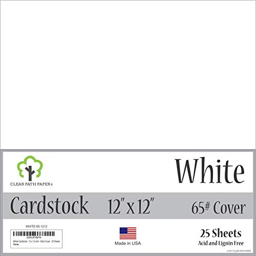 - White Cardstock - 12 x 12 inch - 65Lb Cover - 25 Sheets