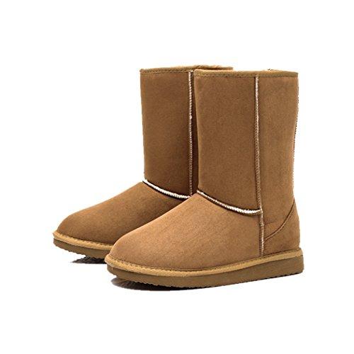 ZEARO Damen Schlupfstiefel | Bequeme Klassiche Stiefeletten | Hidden Wedges Boots Wildlederoptik Braun