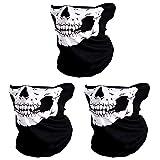 #8: CIKIShield Seamless Skull Face Mask Bandana Motorcycle Face Masks Skeleton Face Shield (3pcs-white)