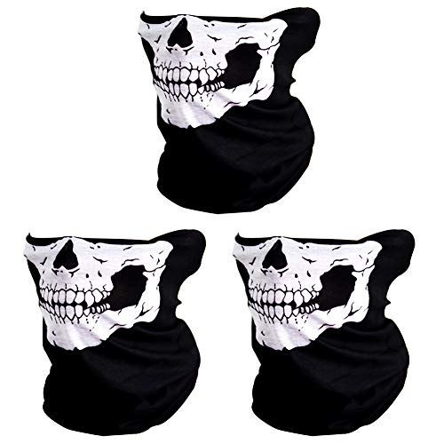 CIKIShield Seamless Skull Face Mask Bandana Motorcycle Face Masks Skeleton Face Shield (3pcs-white)