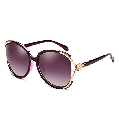 soleil avec de soleil boîte Purple gens paragraphe polarisée de marée grande Dark lunettes mince Étoile longue de dame élégante rondes le lunettes WLHW était lunettes IXHqxUWw4B