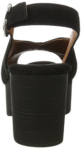 Biz Femme Noir Suede Heel Sandales Compensées Black Shoe 4dwxapqq