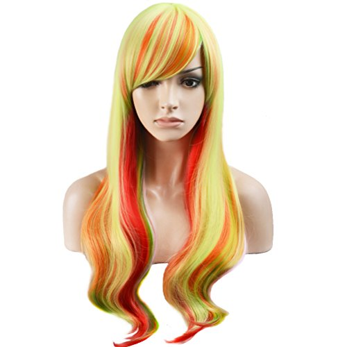 RightOn Long Wavy Women Girls Colorful Party Costume