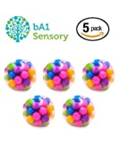 DNA Stress Relief Ball - Non-Toxic Squeezing Squishy Toy - Tactile Fidget for Autism, ADHD, Anxiety, Special/Sensory Needs and More (5 Pack)