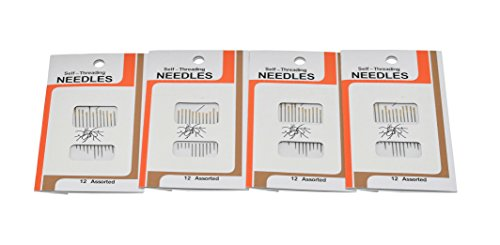 Home-X Self-Threading Needles. Set of 48 (4 Packages of 12) (Embroidery Home Machine Needles)