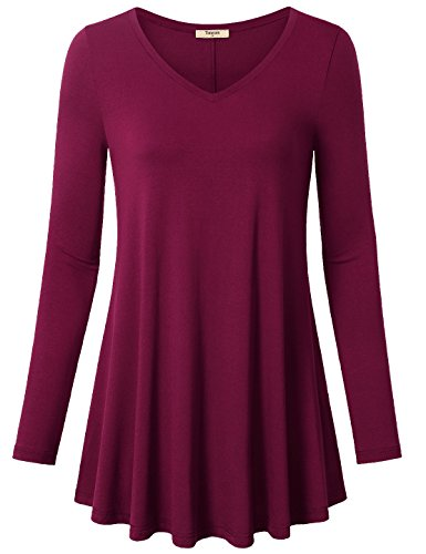 Timeson Women's V-Neck Long Sleeve Shirt Flowy A-Line Casual Tunic Tops