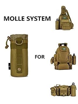 Yakmoo Sac de Bouteille deau Imperm/éable Style Militaire Tactique Nylon Porte Bouteille deau Molle Syst/ème pour Outdoors