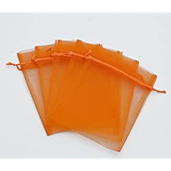 100 pcs 5x7 (13x18cm) Organza Bags Wedding Favor Bags Party Gift Bags Candy Bag Jewelry Pouch Drawstring Bag (Orange - FB063)