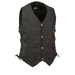 Men's 10 Pocket Side Lace Denim Vest (Black,)