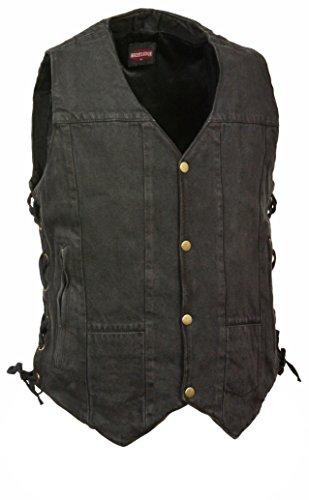 Men's 10 Pocket Side Lace Denim Vest (Black, M)