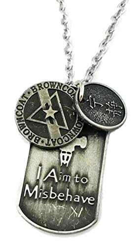 (Mainstreet247 Firefly Serenity I Aim to Misbehave Pewter Finish Dog Tag Necklace)
