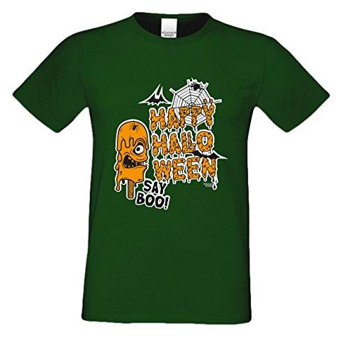 T-Shirt - Happy Halloween - Say Boo Shirt grün - gruseliges Motiv Shirt für Leute mit Humor