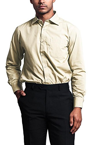 G-Style USA Men's Regular Fit Long Sleeve French Convertible Cuff Dress Shirt - TAN - L/16.5/36-37 (Classy Outfits For Men)