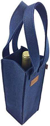 Venetto Bolsa de regalo para botellas de vino, bolsa de regalo, color azul oscuro