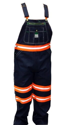 Walls Liberty Mens Work Safety Striped Bib Overalls Orange 32X34 - Striped Bib Overalls