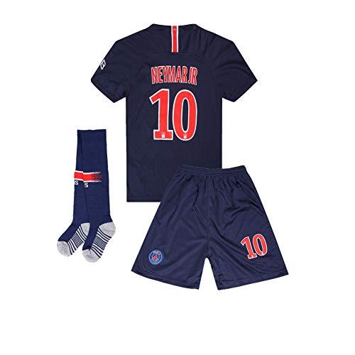 Paris St Germain (PSG) 18-19 Home #10 Neymar JR Kids Youth Soccer Jersey & Shorts & Socks Blue