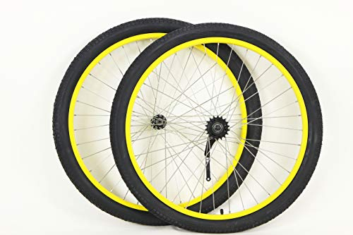 MANGO 26 inch Coaster Brake Wheel Set Beach Cruiser Bike Bicycle with Tires and Tubes! (Black) (Yellow) ()