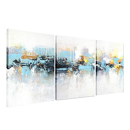 - Gold Orange Set of 3 Oil Paintings, Printed Canvas Wall Art Prints Artwork Decor for Kitchen Home Office, 12x16 Inches,Abstract Blue Villages ...