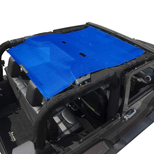 Shadeidea Jeep Wrangler Sun Shade JK 2 Door Front and Rear-Blue Mesh Screen Sunshade JK Top Cover UV Blocker with Grab Bag-One time Install 10 years Warranty