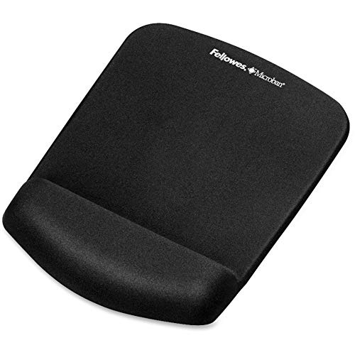 """Fellowes PlushTouch Mouse Pad w/Wrist Support-Mouse Pad/Wrist Rest w/Foam Fusion,7-1/4""""x9-3/8""""x1"""",Black from Fellowes"""