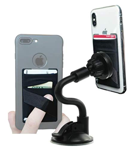 New 2-in-1 Premium Flexible Magnetic Car Mount for iPhone & Samsung + Free Stick On Card Wallet (Windshield or/Dash Suction Cup) (Universal: Any Phone - XS, Max, X, Xr, 8 7 6 Plus, S10, S9 etc)