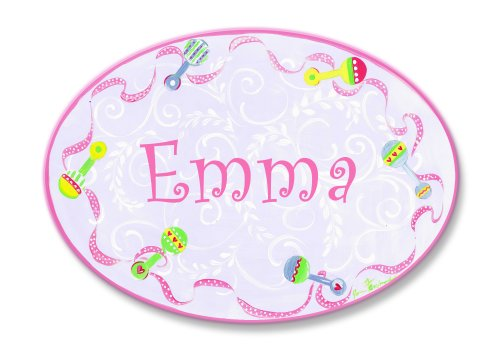 The Kids Room by Stupell Emma, Pink with Multi-Colored Rattle Border Personalized Oval Wall Plaque (Baby Pink Border)