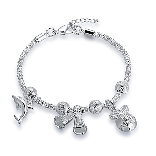 Mrsrui 925 Sterling Silver Plated Leaf Crown Heart Flower Charm Bracelet Birthday Wedding Gift (A) by Mrsrui