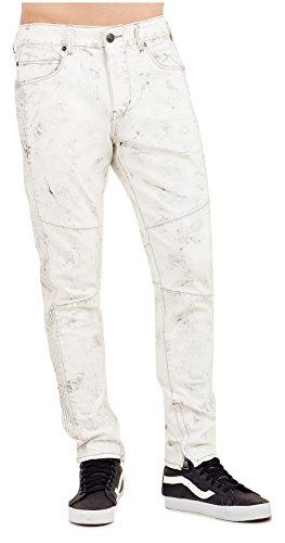 True Religion Men's Mick Slouchy Skinny Racer Jeans (White/Black, 33)