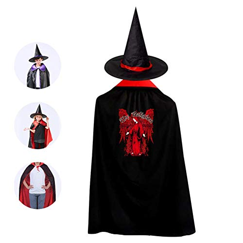 Kids My Religion Halloween Costume Cloak for Children Girls Boys Cloak and Witch Wizard Hat for Boys Girls Red]()