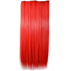 Stepupgirl Hair Extension, 24 Inch Bright Red Color Straight Full Head Synthetic Clip in Wig