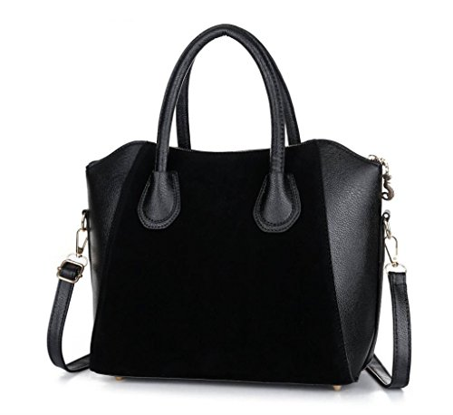 Hot Sale! Bag fashion bags patchwork nubuck women's handbag smiley shoulder bags (Black color)