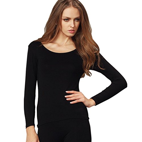 Liang Rou Women's Plain Basic Scoop Neck Thin Stretch Long Sleeve Top Black S XS-S (0 2 4 6) 1 Piece Black by Liang Rou (Image #3)