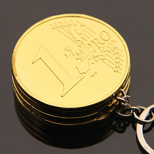 (EHOO Portable Simulation Mini Coin Shape Cigarette Lighter Keychian Pendant Refillable Butane Without Oil Gas Keychain Ornaments Gift -Gold,EUR)