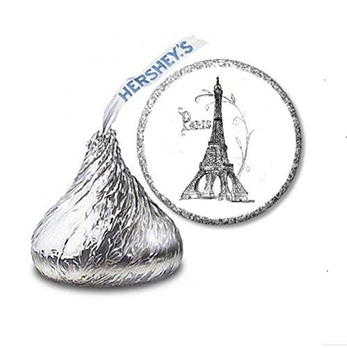 216 Paris Eiffel Tower Labels/Stickers for Hershey's Kisses Candies - Party Favors by JS&B (Paris Kiss)