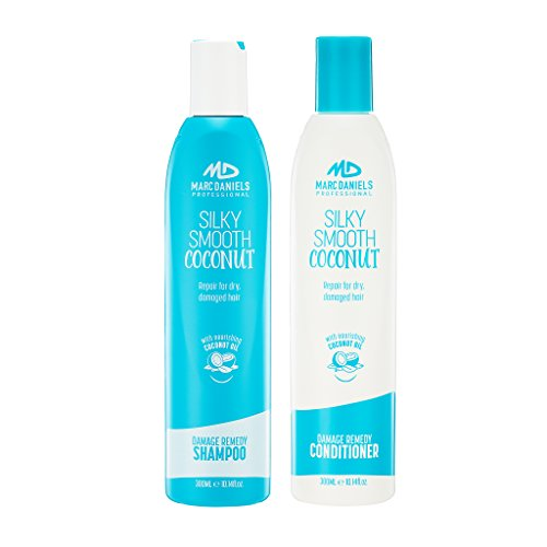 Coconut Oil Shampoo & Conditioner Set - Sulfate Free - Repairs, Nourishes, Hydrates, Strengthens All Hair Types Including Color Treated, Women & Men by MARC DANIELS Professional (Drench Hydrating Shampoo)
